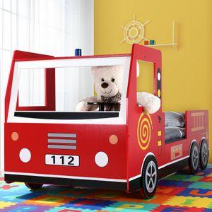Kinder Bett Feuerwehr Optik Liegefläche 200x90 cm Holzbett inkl. Lattenrost Autobett 3D Räder Sirene Lenkrad
