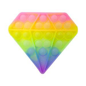 Diamant Push Pop Pop Bubble Sensory Fidget Toys Relieving Pressure Anti Stress Relief Needs Silent Push Bubble Fidget Sensory Toys, Regenbogenfarben