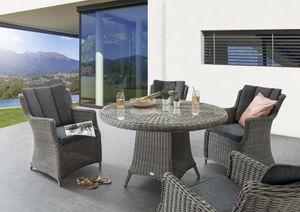 Destiny Sitzgruppe LUNA Grau Garnitur Vintage Grau Gartenmöbelset Polyrattan 9 teilig