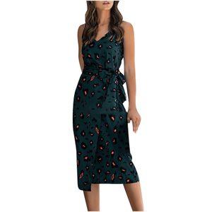 Damenmode Sexy Printing Camisole Slim Fashion V-Ausschnitt Lässiges ärmelloses Kleid Größe:M,Farbe:Grün