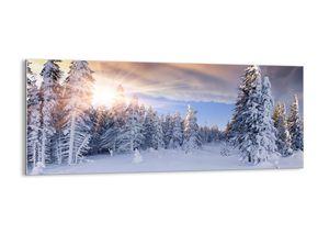 """Glasbild - 120x50 cm - """"Ein schneebedecktes Naturschauspiel""""- Wandbilder  - Winter Berge Schnee - Arttor - GAB120x50-2433"""
