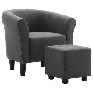 vidaXL 2-tlg. Sessel und Hocker Set Dunkelgrau Stoff