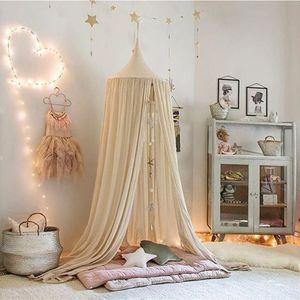 Moskitonetz Bett Kinder und Baby Betthimmel Moskitonetz Baumwolle süß und romantisch für Kinderzimmer und Schlafzimmer Beige 240x50cm (HöhexDurchmesser)