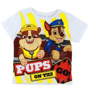 Paw Patrol Jungen T-Shirt mit Rubble & Chase Motiv, weiß, Größe:116