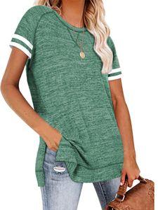 Langes lässiges Pullover-Sweatshirt mit geteiltem Saum und lockerem Stepphemd für Dame,Farbe: Grün,Größe:XXL