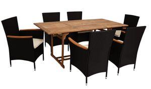 DEGAMO Gartenset Sitzgruppe Gartengarnitur MONTREUX 7-teilig, Geflecht schwarz, 6x Sessel mit Polsterauflagen und 1x Tisch 90x180cm aus Holz Akazie