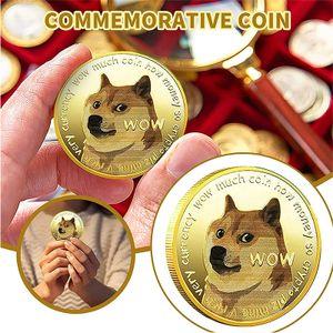 2 Dogecoin-Münzen, vergoldete Gedenkmünze, Sammlermünze in limitierter Auflage von Doge-Münze, Hunde-Gedenkabzeichen