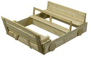 Sandkasten für Kinder Buddelkiste Sandkasten mit Sitzbank u. Abdeckung - (3960)