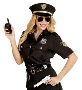Polizistin Kostüm-Set Cop schwarz-silber-gold