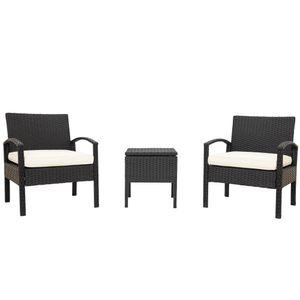 Polyrattan Gartenmöbel Balkonmöbel set -1 Tisch & 2 Sessel - für Garten, Balkon & Terrasse – inkl. Sitzkissen ,Wetterfeste ,schwarz