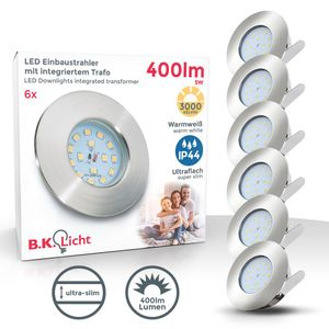 LED Bad-Einbaustrahler 3er SET ultra flach inkl. 5W LED Leuchtmittel 230V IP44 LED Einbauleuchte warmweiss 400 Lumen
