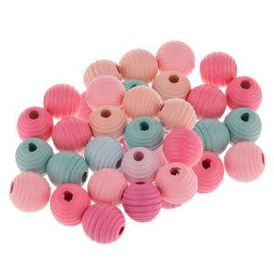 40 Stücke Mischfarbe Holzperlen Holz Perlen Zwischenperlen Kugeln für Armband Halskette