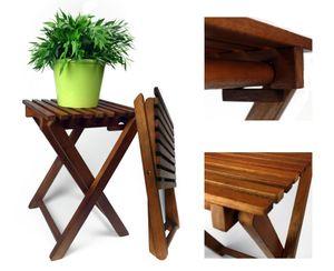 2 x Blumenhocker aus Eukalyptusholz - Klapphocker Beistelltisch Hocker Gartenhocker Holzhocker