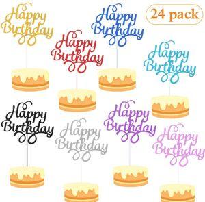 Cake Topper,Cake Topper Happy Birthday, Kuchendekoration Geburtstag, Tortendeko, Tortenstecker Geburtstag, 24pcs