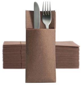 50 Softpoint Besteckservietten Bestecktaschen braun
