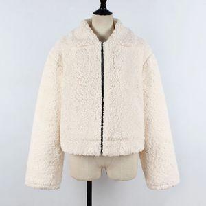 Damen Damen warme künstliche Wolle Mantel Reißverschluss Jacke Winter Parka Oberbekleidung Größe:XL,Farbe:Beige