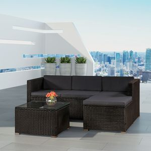 Juskys Polyrattan Lounge Punta Cana M schwarz – Gartenlounge Set 3-4 Personen – Sitzgruppe mit Sofa, Tisch & Hocker - Sitzbezüge Dunkelgrau