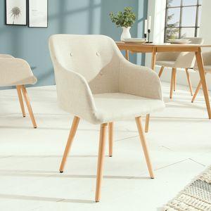 Retro Design Stuhl SCANDINAVIA MEISTERSTÜCK beige mit Armlehne Esszimmerstuhl Armlehnstuhl