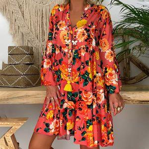 Mode Damen Retro-Druck V-Ausschnitt Langarm bequemes Freizeitkleid Größe:XXXXL,Farbe:Orange