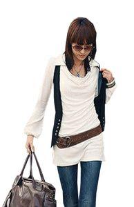 Gyt Mississhop Damen elegante Bluse Tunika Longshirt Pulli mit Wasserfall Kragen creme S