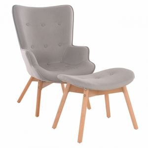 Raburg Fernsehsessel MIKKEL in STEINGRAU - Retro TV-Sessel mit Hocker aus Leinen und Massivholz, moderner Ohrensessel