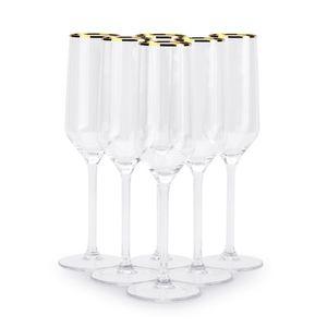 SEKTGLÄSER 6er Set Champagnergläser Gläser Weingläser Sekt Kelch Glas 220ml GOLD