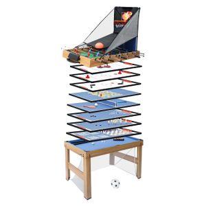 Tischkicker MCW-J16, Tischfußball Billard Hockey 20in1 Multiplayer Spieletisch, MDF 174x107x60cm  Eiche-Optik