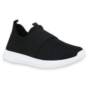 Mytrendshoe Damen Laufschuhe Slip On Sneaker Sportschuhe Strick Turnschuhe 826274, Farbe: Schwarz, Größe: 36