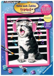 RAVENSBURGER Malen nach Zahlen Singing Cat 24 x 30 cm Ohne Rahmen Acrylfarbe