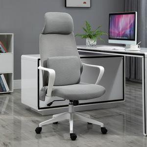 Vinsetto Massagesessel Chefsessel mit Massagefunktion höhenverstellbarer Drehstuhl ergonomischer Gamingstuhl Bürostuhl massage Nylon Grau 62 x 60 x 114-122 cm