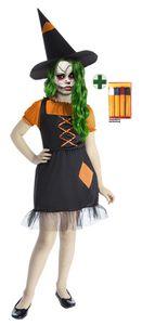 Hexe Zombi orange schwarz Halloween mit Schminke Größe: 128