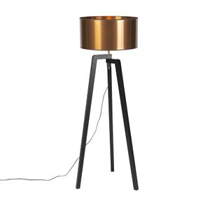 QAZQA - Landhaus   Vintage   Rustikal Stehleuchte   Stehlampe   Standleuchte   Lampe   Leuchte schwarz mit Kupferschirm 50 cm - Puros   Wohnzimmer   Schlafzimmer - Holz Andere - LED geeignet E27
