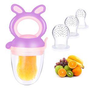 Fruchtsauger für Baby & Kleinkind + 3 Silikon-Sauger in 3 Größen - BPA-frei - Schnuller Beißring für Obst Gemüse Brei Beikost