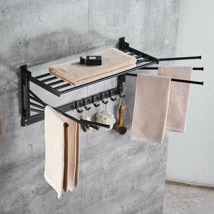 Alu Handtuchhalter Handtuchständer Beweglich Handtuchstange 7 Armig ausziehbar mit Handtuchhacke Hohe Qualität