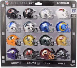 16 teiliges NFL Helm Riddell Pocket Mini NFC Set 2020 Footballhelm Helmet