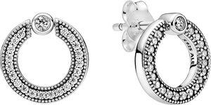 Pandora Ohrringe 299486C01 Pave Logo Circle Ohrstecker Silber 925