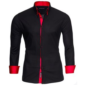 Reslad Herren Langarm Hemd Alabama RS-7050 Schwarz-Rot XL