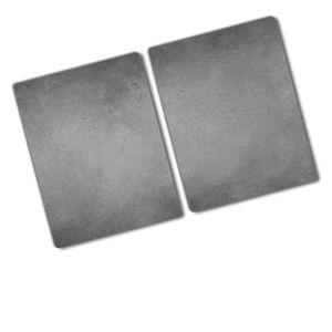 Tulup® Glas Herdabdeckplatte - 2x40x52 cm - Ceranfeldabdeckung Spritzschutz Glasabdeckplatte Kochplattenabdeckung und Schneidebrett - Einteilig  - Sonstige - Beton - Grau