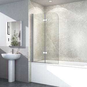 EMKE Duschtrennwand 120x140cm Faltwand Duschwand für Badewanne 180° Schwenkbar Badewannenaufsatz Duschabtrennung 6mm ESG Sicherheitsglas mit Beidseitige Nano Beschichtung