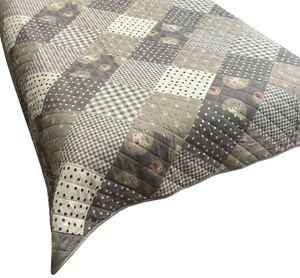 Tagesdecke Sofaüberwurf 240x220 cm grau weiß kariert, 1 Stück