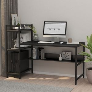 Dripex Holz Schreibtisch mit Ablage Computertisch, PC-Tisch Bürotisch Officetisch Stabile Konstruktion Tisch für Home Office (136cm Schwarz)