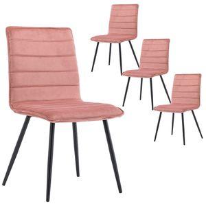 Duhome 4er Set Esszimmerstuhl Polsterstuhl aus Stoff Samt Rosa Pink Metallbeine