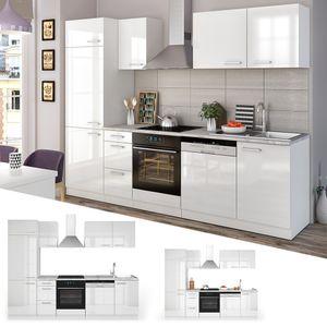 Vicco Küche 270 cm Küchenzeile Küchenblock Einbauküche Komplettküche - Weiß Hochglanz