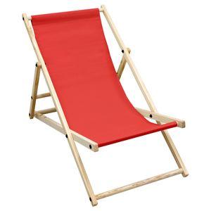 ECD Germany Liegestuhl klappbar aus Holz - 3 Liegepositionen - bis 120 kg - Rot - Sonnenliege Gartenliege Relaxliege Strandliege Liege Strandstuhl Klappliegestuhl Holzklappstuhl Strandliegestuhl