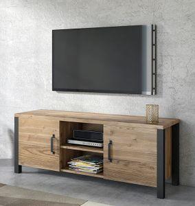Lowboard 147cm appenzeller fichte schwarz Modern TV-Schrank TV-Kommode