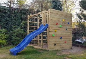Spielplatz Kletterturm Spielturm mit Kletterwand Hängeleiter Rutsche - (4010)