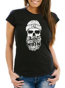 Damen T-Shirt Moin Totenkopf Anker Skull Slim Fit Neverless® schwarz M