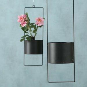 2er SET Blumenampel Blumentopf hängend Blumenampeln Hängetopf Metall schwarz