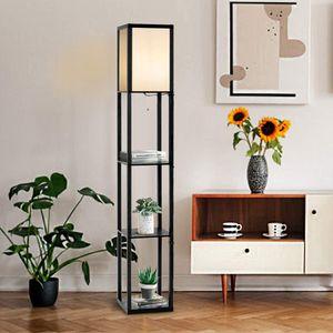 GOPLUS 3-Regal Stehleuchte, Stehlampe mit 3 Regalablagen, Standlampe Standleuchte Modern und Elegant mit Schalter, Innenbeleuchtung Lagerung Beleuchtung für Wohnzimmer Schlafzimmer (Modell 1)