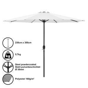 Sonnenschirm Schirm Marktschirm Kurbelschirm Garten Weiß / 230x300cm / 5,7kg / Stahl / Polyester 160g/m² [casa.pro]